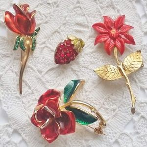 Vintage Pins Lot of 4 Red Flower Pins, Brooches